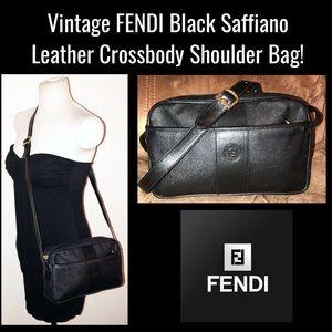 Vintage FENDI Black Leather Crossbody Shoulder Bag